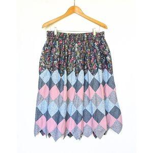 HANDMADE patchwork quilted grandma midi skirt